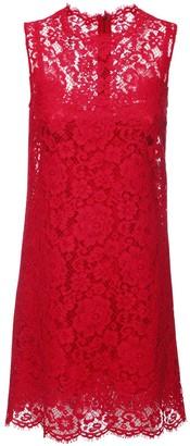 Dolce & Gabbana Sleeveless Cotton Blend Lace Mini Dress