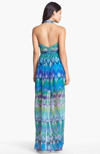 Laundry by Shelli Segal Print Chiffon Halter Maxi Dress