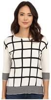 Christin Michaels Virginia Grid Cashmere Sweater