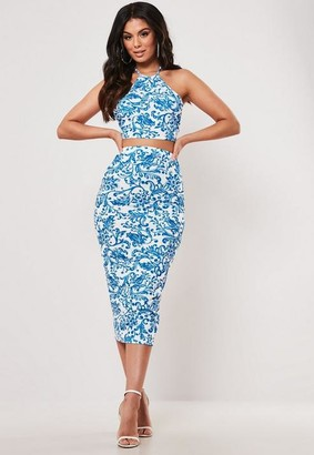 Missguided Blue Porcelain Print Crop Top And Midaxi Skirt Co Ord Set