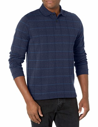 Van Heusen Men's Flex Long Sleeve Jaspe Windowpane Polo Shirt