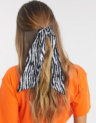 ASOS DESIGN hair scarf in abstract zebra print