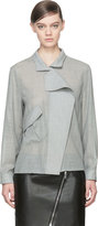 Anthony Vaccarello Grey Wool Angled Pocket Blouse