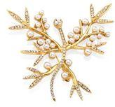 Oscar de la Renta Faux Pearl Bamboo Leaf Brooch