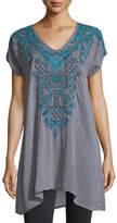 Johnny Was Eros V-Neck Embroidered Tunic