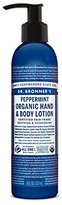 Dr. Bronner's & All-One Organic Lotion for Hands & Body, Peppermint, 8-Ounce Pump Bottle