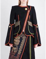 Peter Pilotto Ladies Navy Contrast-Trim Flared-Sleeve Wool-Blend Jacket
