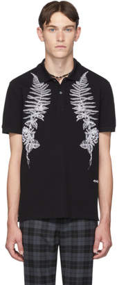 Alexander McQueen Black Fern Embroidery Polo