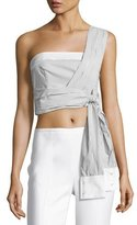 KENDALL + KYLIE Striped Wrapped-Sleeve Crop Top, White/Black