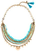 Line & Dot Dot & Line Aqua blue beads multi layered Isa Disk necklace