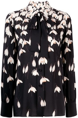 Valentino Printed Long-Sleeve Blouse