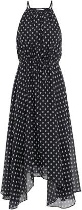Joie Asymmetric Printed Silk Midi Dress