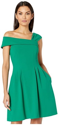 Vince Camuto Asymmetrical Fit-and-Flare (Green) Women's Clothing