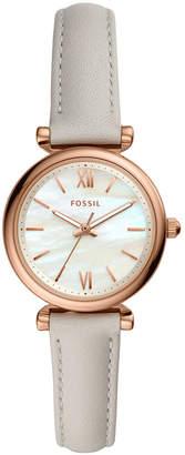Fossil Women mini Carlie rose tone off white leather strap