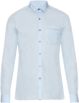 Lanvin Button-cuff embroidered collar cotton shirt