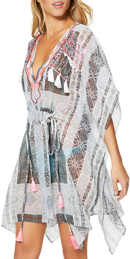 Akila Embroidered V-Neck Coverup Caftan