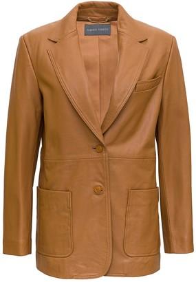Alberta Ferretti Single-Breasted Leather Blazer