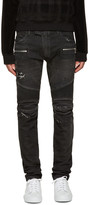 Balmain Black Distressed Biker Jeans