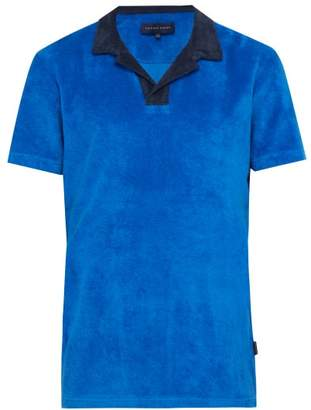 Orlebar Brown Contrast-collar Cotton-terry Polo Shirt - Mens - Blue