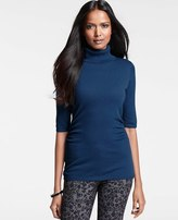 Ann Taylor Ruched Short Sleeve Turtleneck Sweater