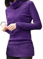 Knit Shirt - SODIAL(R) Women Turtleneck Long Sleeve Fitted Knit Shirt Stretchy Tunic Tops M
