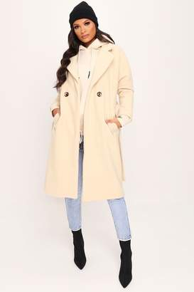 I SAW IT FIRST Cream Drop Shoulder Belted Coat