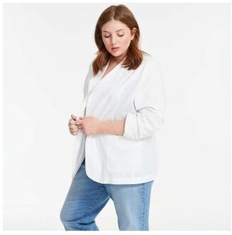 Joe Fresh Women+ Notch Collar Blazer, White (Size 3X)