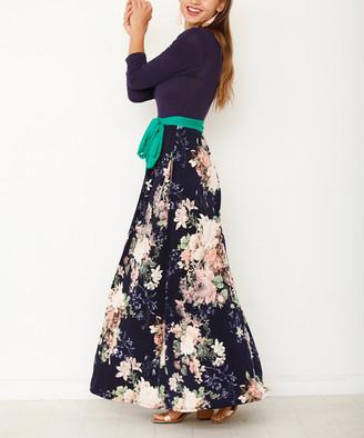 egs by eloges Women's Maxi Dresses Navy - Navy Floral Contrast Sash Maxi Dress - Women