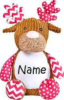 Monogrammed Me Personalized Stuffed Pink Harlequin Deer with Embroidered Name