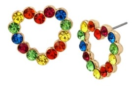 "Betsey Johnson Rainbow Stone Heart Stud Earrings in Gold-tone Metal, 0.8"""