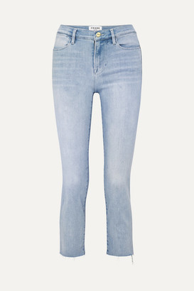 Frame Le High Cropped Frayed Straight-leg Jeans - Light denim