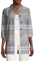 St. John Women's Raya Striped Patch Pocket Coat