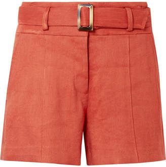 Veronica Beard Makayla Belted Linen-blend Shorts - Orange