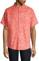 Onia Jack Ink Palm Print Short-Sleeve Linen Shirt