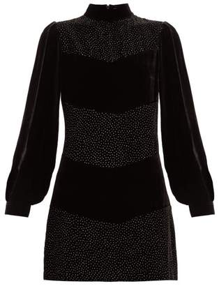 Raquel Diniz Chloe Crystal-embellished Velvet Mini Dress - Womens - Black Silver