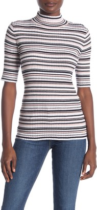 T Tahari Elbow Sleeve Stripe Print Top