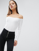 Asos Off Shoulder Body in Rib with Long Sleeves