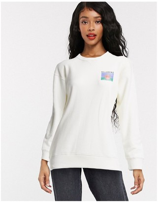 Billabong Surf Vibe back placement sweatshirt in white