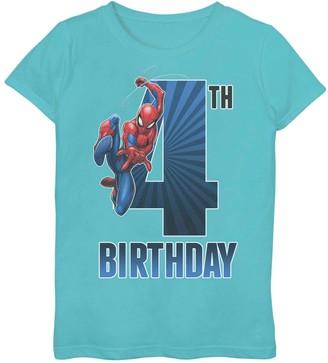Spiderman Licensed Character Girls 7-16 Marvel 4th Birthday Tee