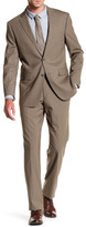 Vince Camuto Taupe Sharkskin Two Button Notch Lapel Trim Fit Suit