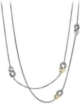David Yurman Belmont® Curb Link Four Station Chain Necklace With 18K