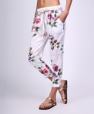 Ornella Paris Women's Casual Pants WHITE - White & Pink Floral Skinny Pants - Women