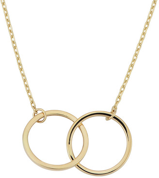 Italian Gold 14K Double Circle Interlocking Necklace