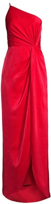 Aidan Mattox Draped Twill One-Shoulder Gown