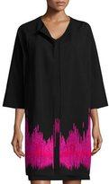Josie Natori Double-Knit Topper with Embroidery