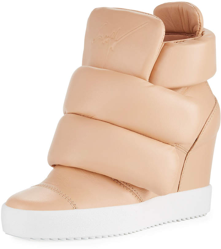 Giuseppe Zanotti Padded Grip-Strap High-Top Wedge Sneakers