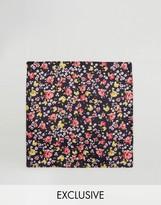Reclaimed Vintage Inspired Pocket Square In Black Floral Print
