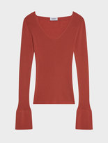 DKNY Silk Blend Bell Sleeve V-Neck Top