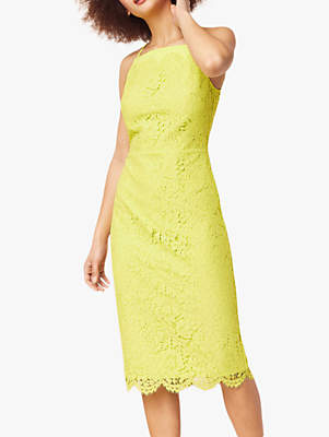 7f6fe8b65272 at John Lewis and Partners · Oasis Lace Square Neck Dress, Yellow