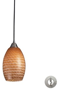 Elk Lighting Mulinello 1 Light Pendant in Satin Nickel with Cocoa Glass - Includes Adapter Kit